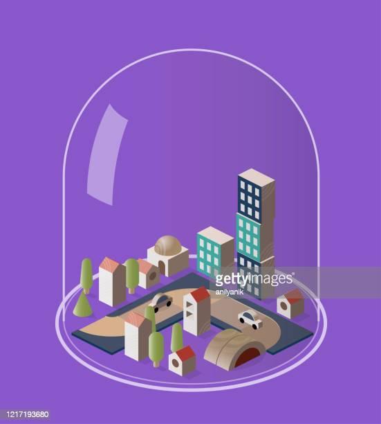 illustrazioni stock, clip art, cartoni animati e icone di tendenza di quarantine - cupola