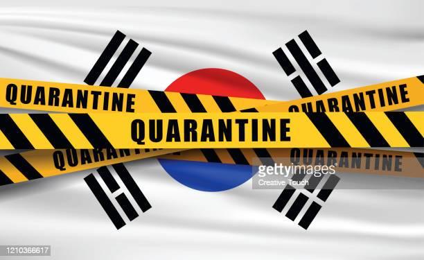 quaretina and flags - south korea stock illustrations
