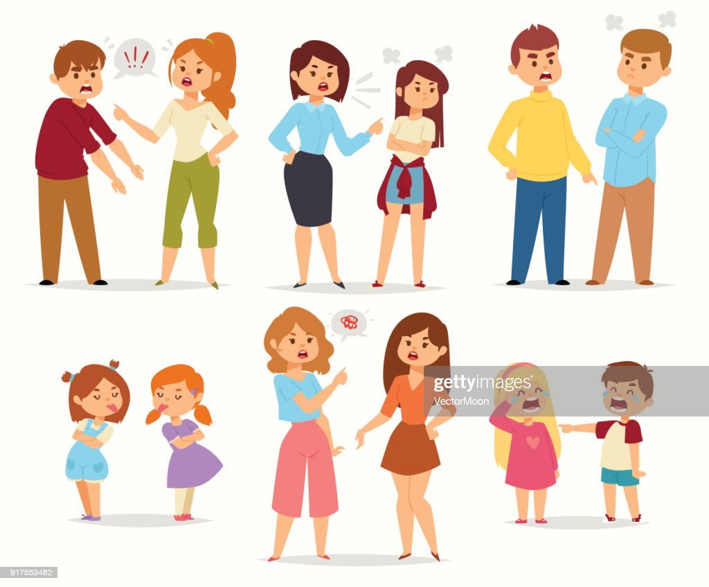 Quarrel conflict stress couples character vector people with arguing quarrel screaming people in different situations in flat style and illustration