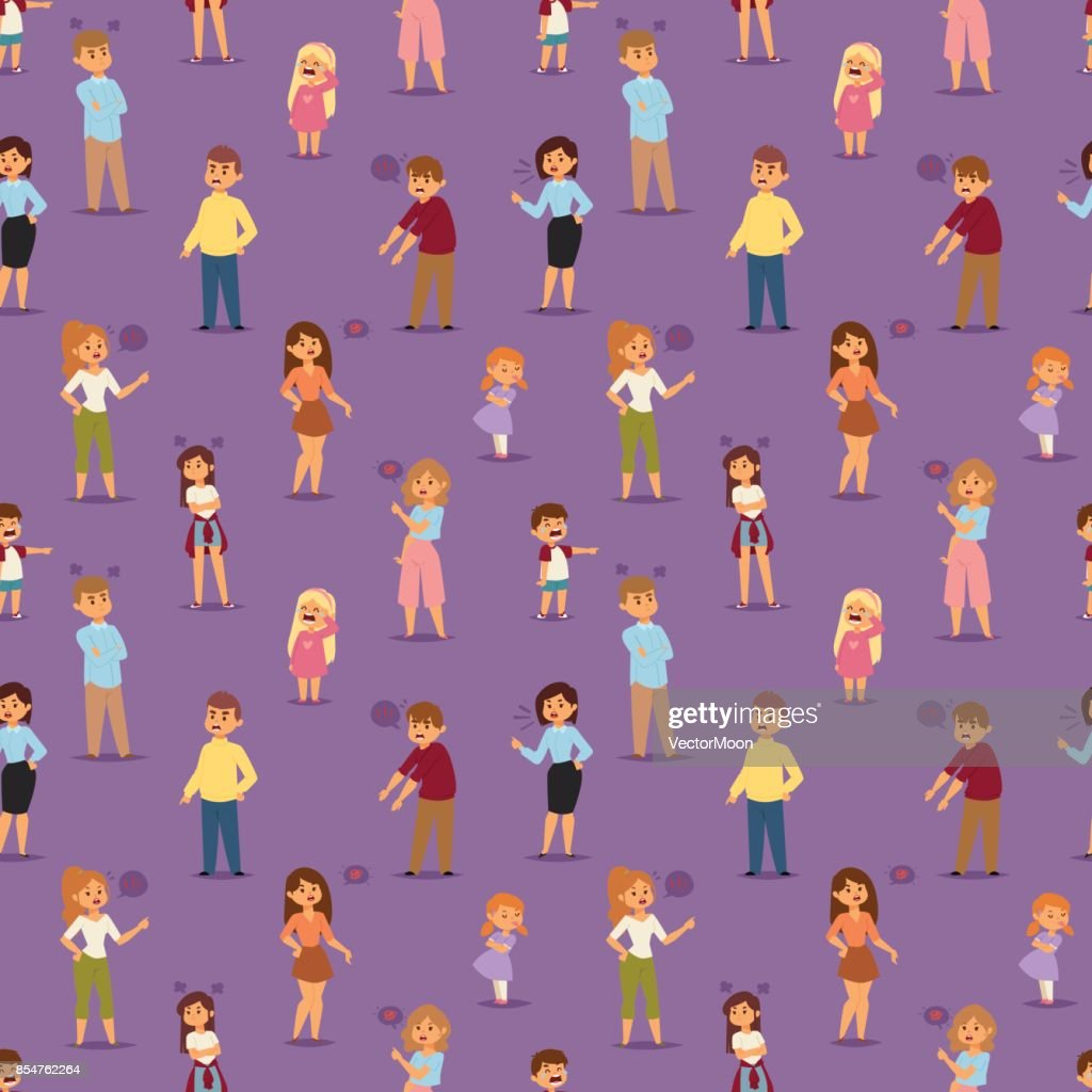 Quarrel with arguing people in different situations in flat style and conflict stress couples character vector illustration