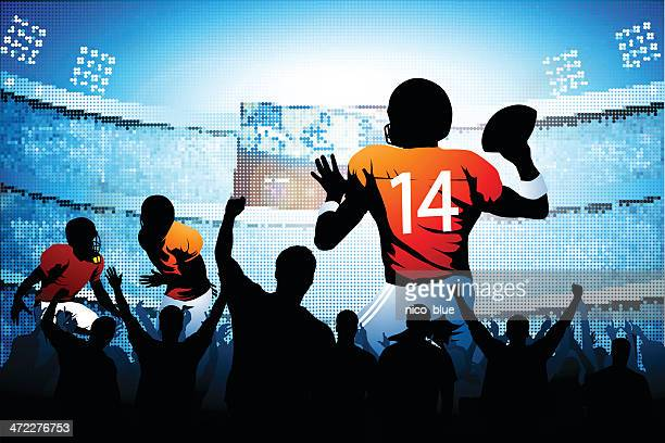 quarterback making a pass - quarterback stock illustrations