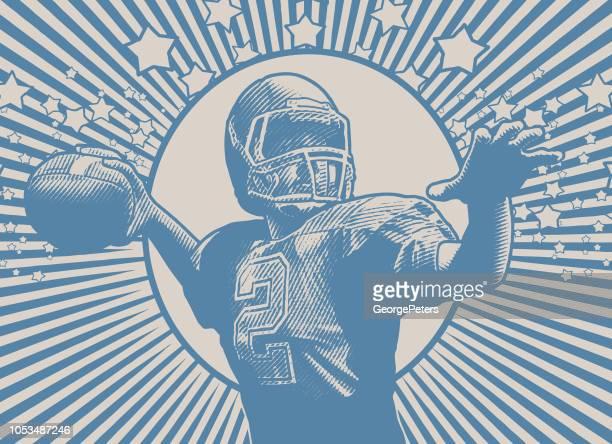 quarterback passing football - desaturated stock illustrations, clip art, cartoons, & icons