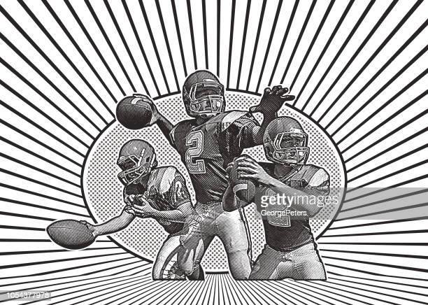 クォーター バック フットボールを渡す - スポーツユニフォーム点のイラスト素材/クリップアート素材/マンガ素材/アイコン素材