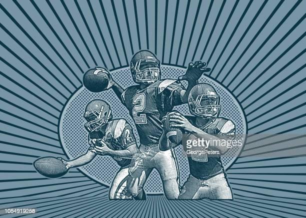 quarterback passing football - american football ball stock illustrations