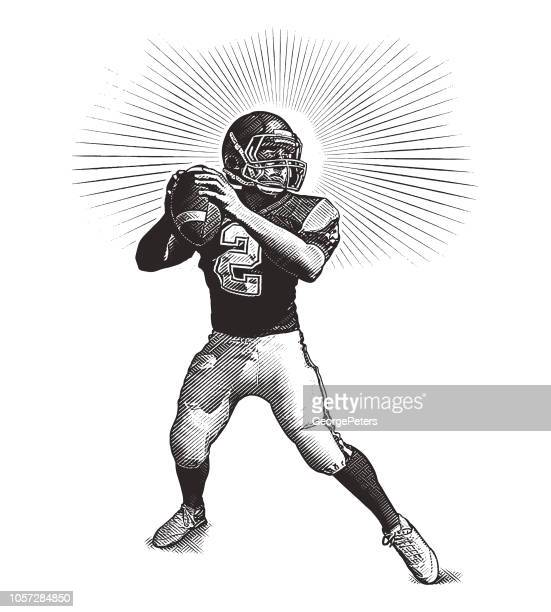 quarterback passing football - team sport stock illustrations