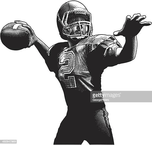 quarterback passing - quarterback stock illustrations