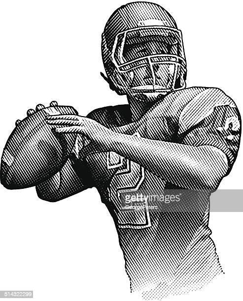 quarterback passing - quarterback stock illustrations