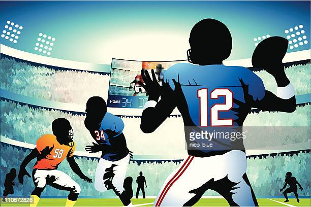 quarterback setting up a pass - quarterback stock illustrations