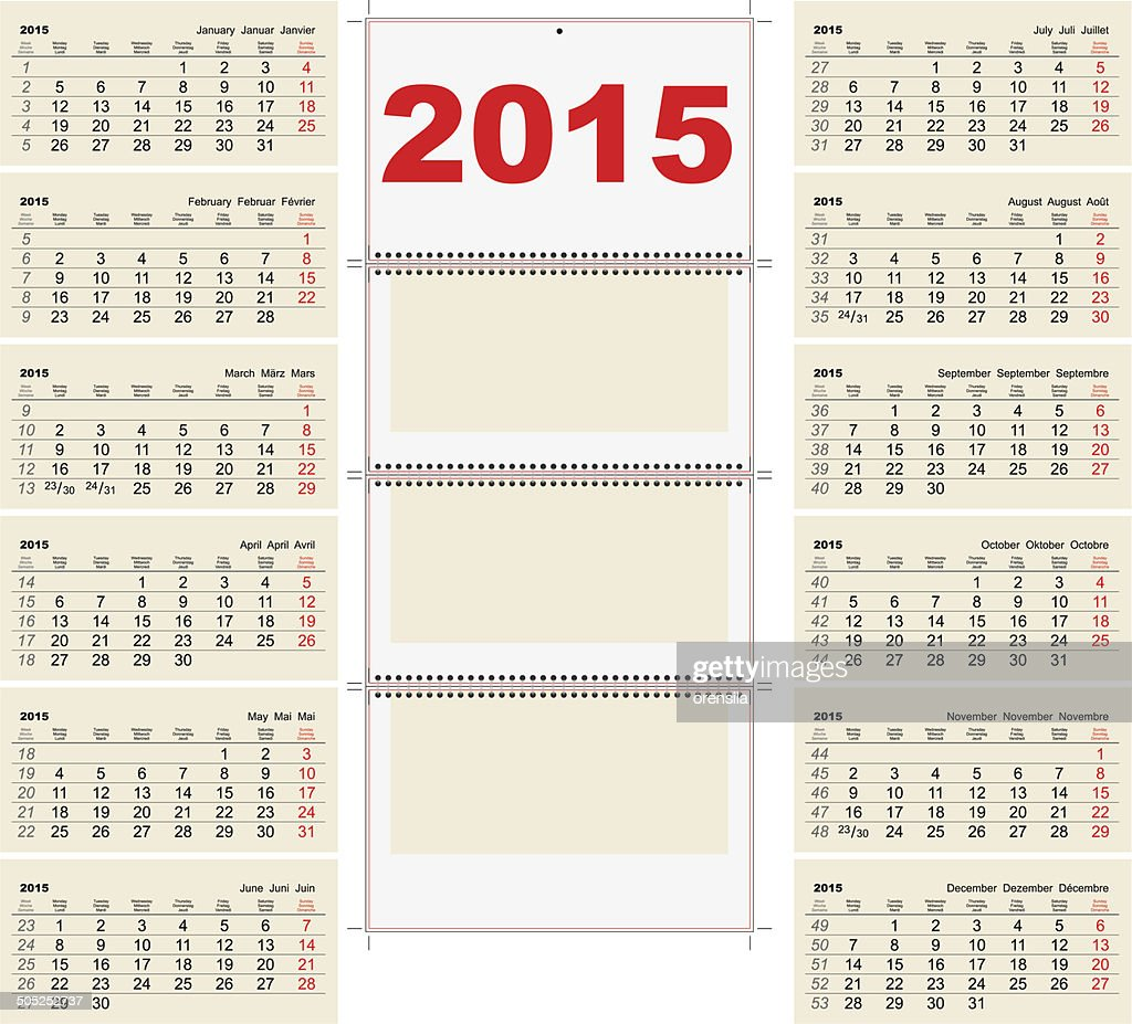 2015 Quarterly calendar template