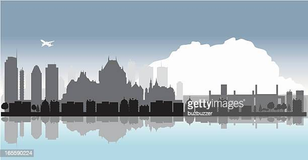 quebec cityscape with water reflection - buzbuzzer stock illustrations