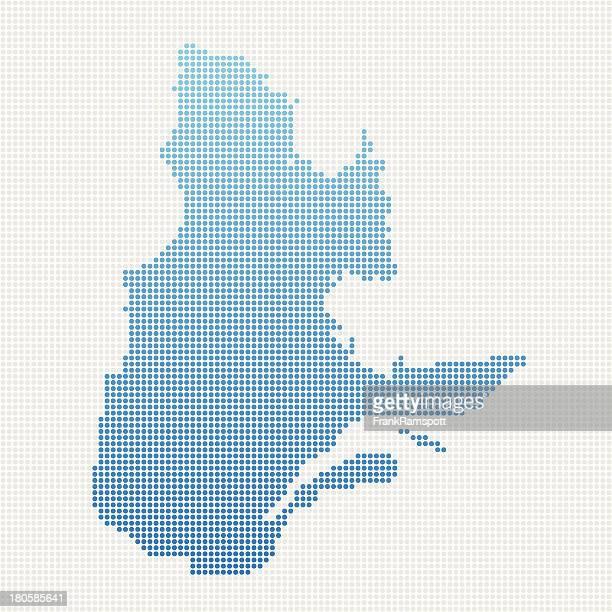 Quebec Map Blue Dot Pattern