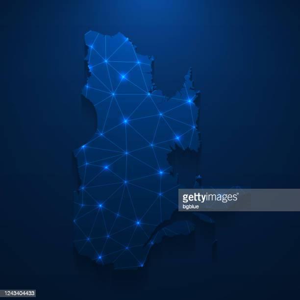 quebec map network - bright mesh on dark blue background - quebec stock illustrations