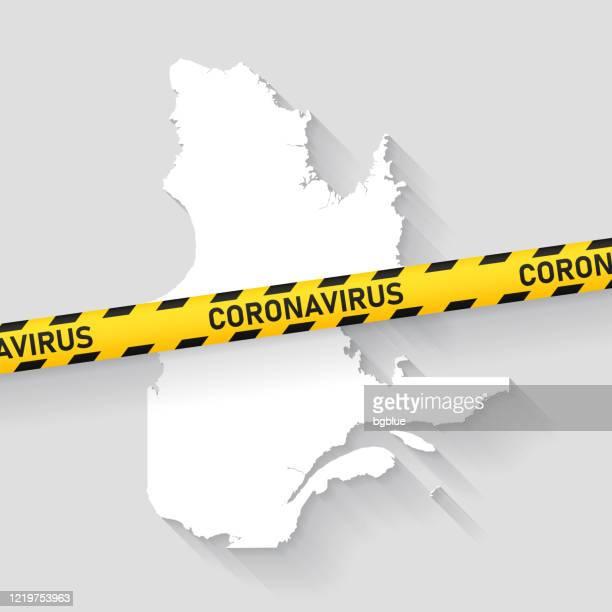 quebec map with coronavirus caution tape. covid-19 outbreak - quebec city stock illustrations