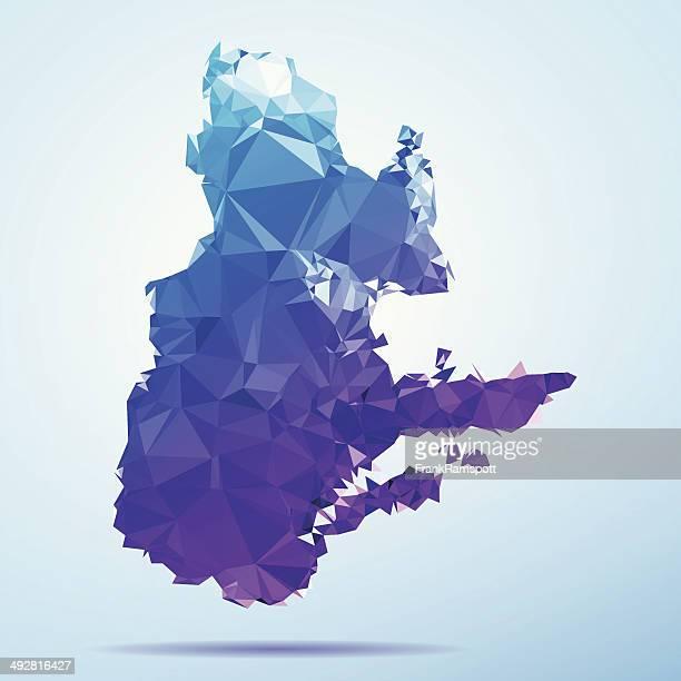 Quebec Polygon Triangle Map Blue