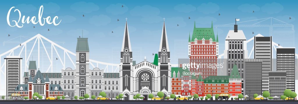 Quebec Skyline with Gray Buildings and Blue Sky.