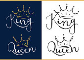 Queen and king. Black text logo with royal crown and tiara.