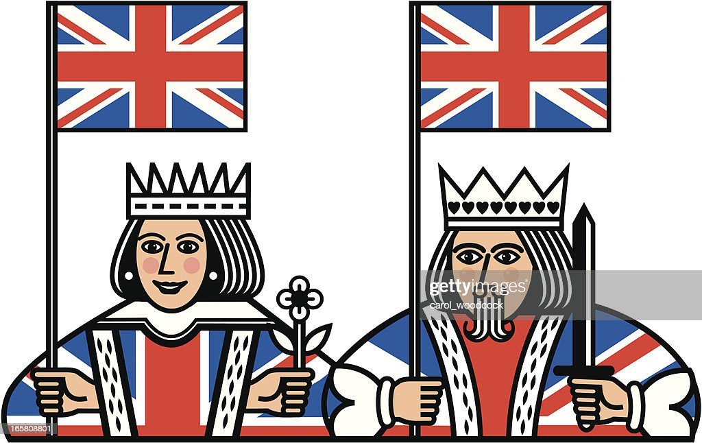 Queen and King with Union Jack Flags : stock illustration