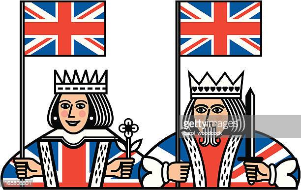 queen and king with union jack flags - king royal person stock illustrations, clip art, cartoons, & icons