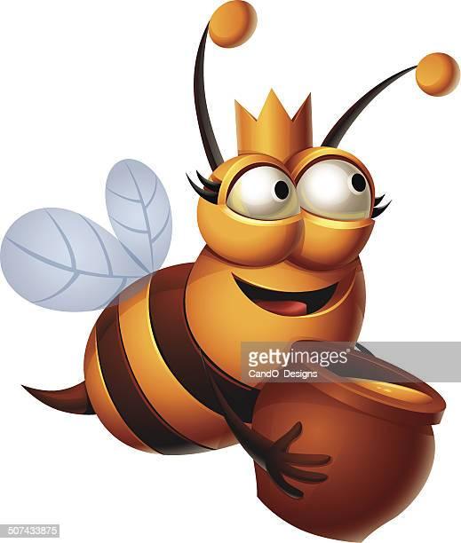 queen bee: honey - queen bee stock illustrations