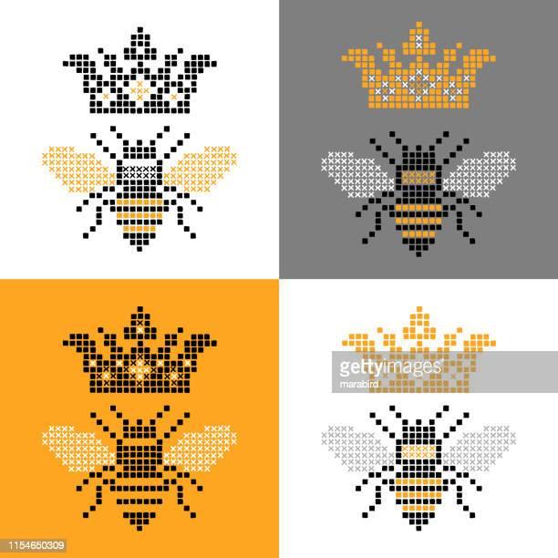 クイーンビー昆虫クロスステッチセット - queen bee点のイラスト素材/クリップアート素材/マンガ素材/アイコン素材