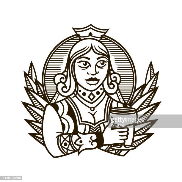 Queen holding a glass of wine - Queen of clubs character in playing cards