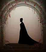 queen in the castle window entwined with red roses liana, lonely princess in castle, vector,