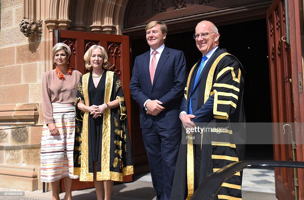 Queen Maxima of The Netherlands and King Willem-Alexander of the Netherlands visit the University of Sydney on November 03, 2016 in Sydney, Australia. The Dutch King and Queen are in Australia to commemorate the 400th anniversary of the landing of Dutch explorer Dirk Hartog in Western Australia.