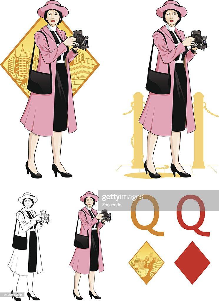 Queen of diamonds  asian woman photographer Mafia card set