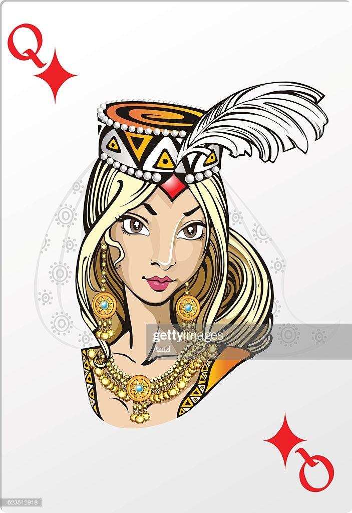 Queen of diamonds. Deck romantic graphics cards