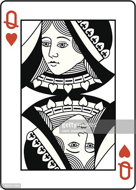 Queen of Hearts black and white head.