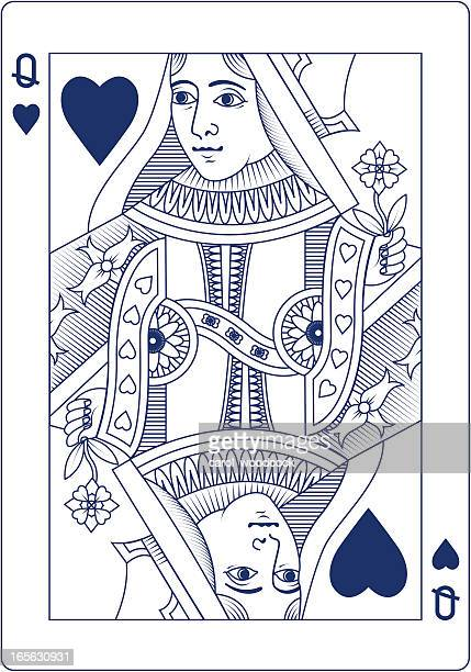 Queen of Hearts in blue line playing card