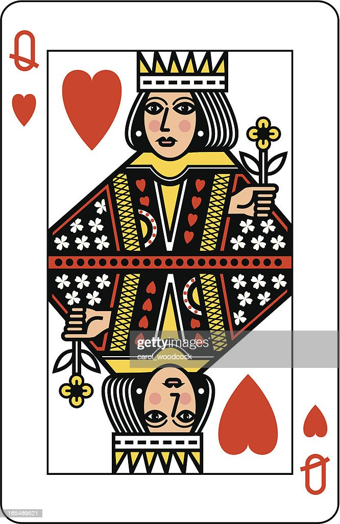 Queen of Hearts Playing Card : Stock Illustration