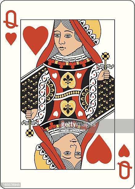illustrazioni stock, clip art, cartoni animati e icone di tendenza di regina di cuori carta da gioco due - q and a