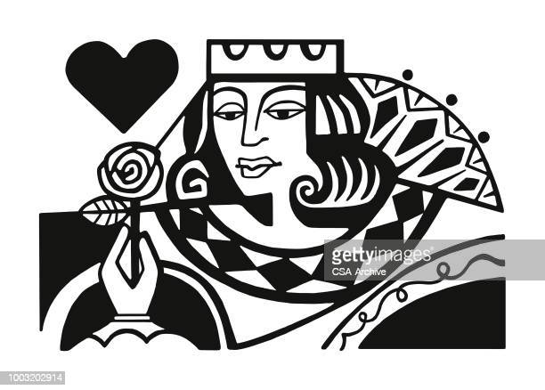 queen of hearts - queen royal person stock illustrations