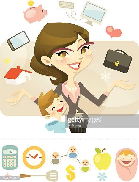 queen of juggling (career mum) - juggling stock illustrations, clip art, cartoons, & icons