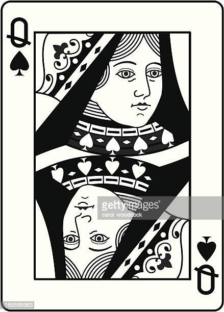 Queen of Spades black and white head.