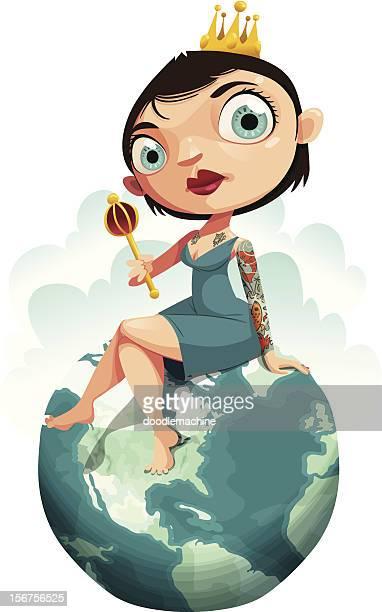 illustrations, cliparts, dessins animés et icônes de queen of the world - femme grosse