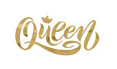 Queen word with crown. Hand lettering text vector illustration
