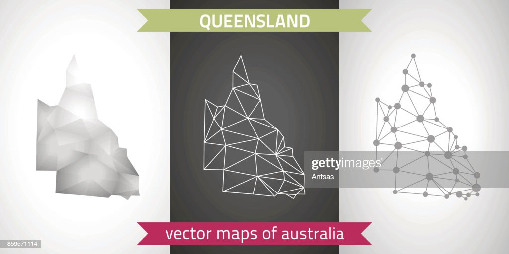 Queensland collection of vector design modern maps, gray and black and silver dot outline mosaic 3d map