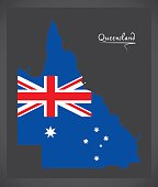 Queensland map with Australian national flag illustration