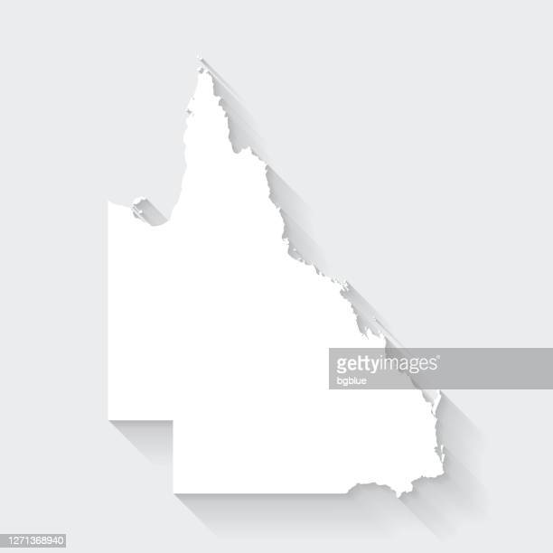 queensland map with long shadow on blank background - flat design - queensland stock illustrations