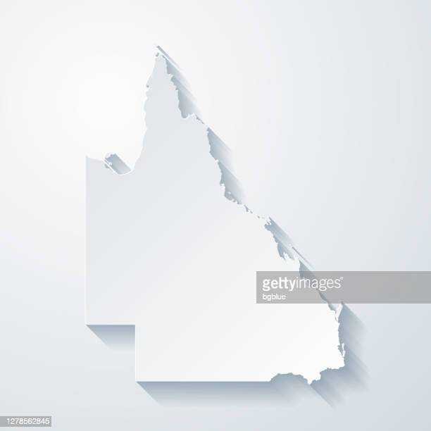 queensland map with paper cut effect on blank background - queensland stock illustrations