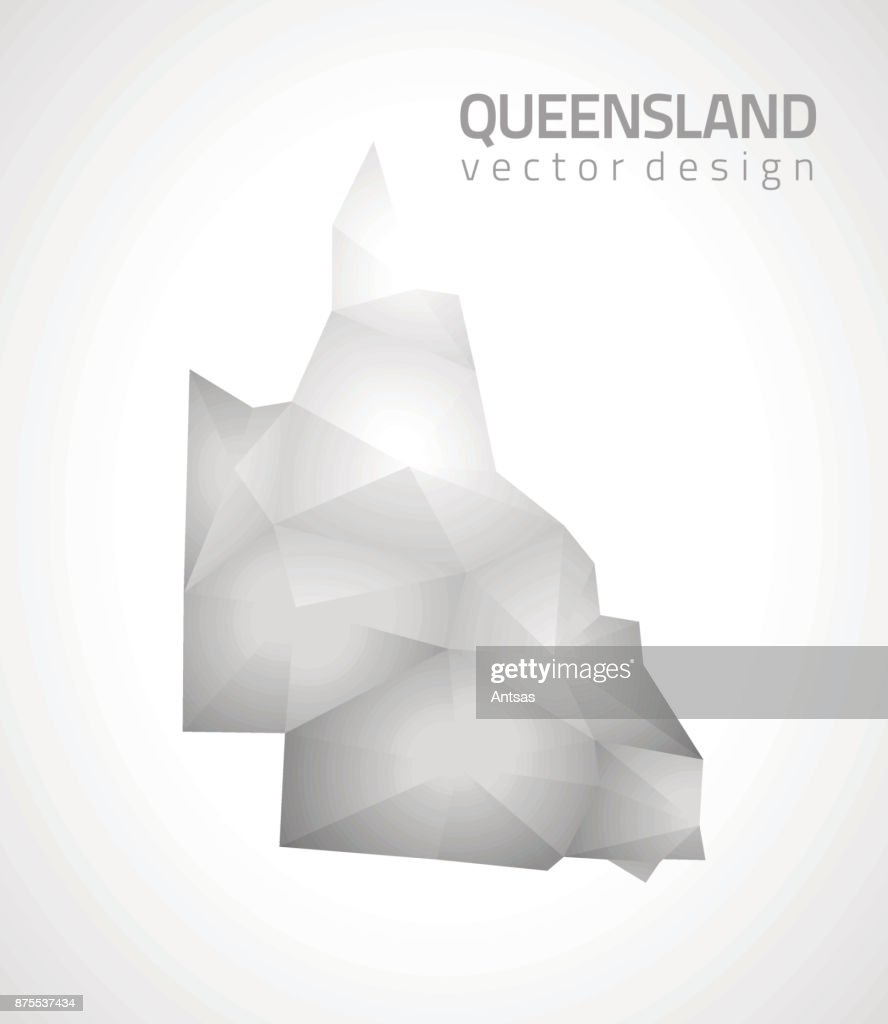 Queensland polygonal triangle grey and silver vector map
