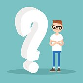 Question 3D sign. Young character asking a question / flat editable vector illustration, clip art
