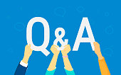 Question and answer concept illustration of human hands hold letters Q and A