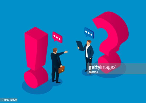 question and answer concept, two businessmen standing next to the question mark and exclamation mark - next stock illustrations