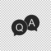 Question and Answer mark in speech bubble icon isolated on transparent background. Q and A symbol. Flat design. Vector Illustration