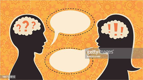 question and answer - communication problems stock illustrations, clip art, cartoons, & icons