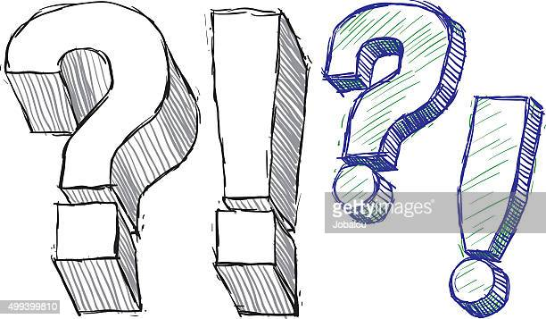 question and exclamation doodle marks - exclamation mark stock illustrations