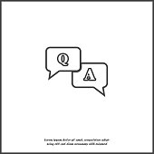 Question answer icon.  Flat image speech bubbles question and answer on white isolated background.